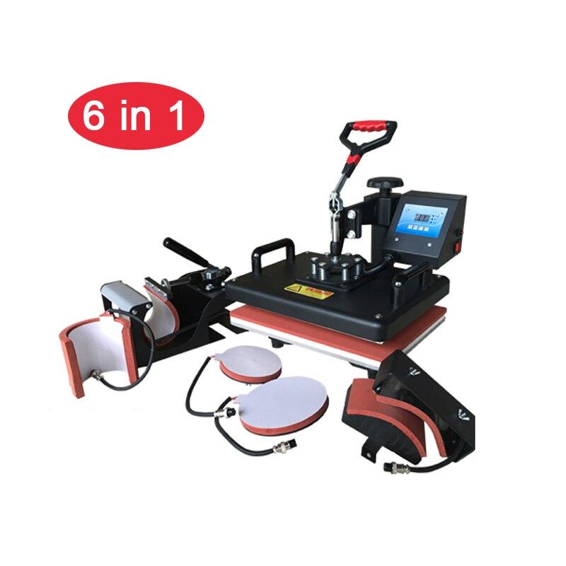 6 dans 1 Combo presse chauffée Machine Imprimante à Sublimation De Transfert De Chaleur Tasse/Cap/t-shirt/coque de téléphone/Plaque /sac/Puzzle/tissu D'impression