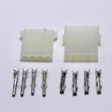 100 sets atx/eps 몰 렉스 5.08mm 4 p 핀 수 플러그 암 잭 전원 커넥터 하우징 + pc 용 터미널