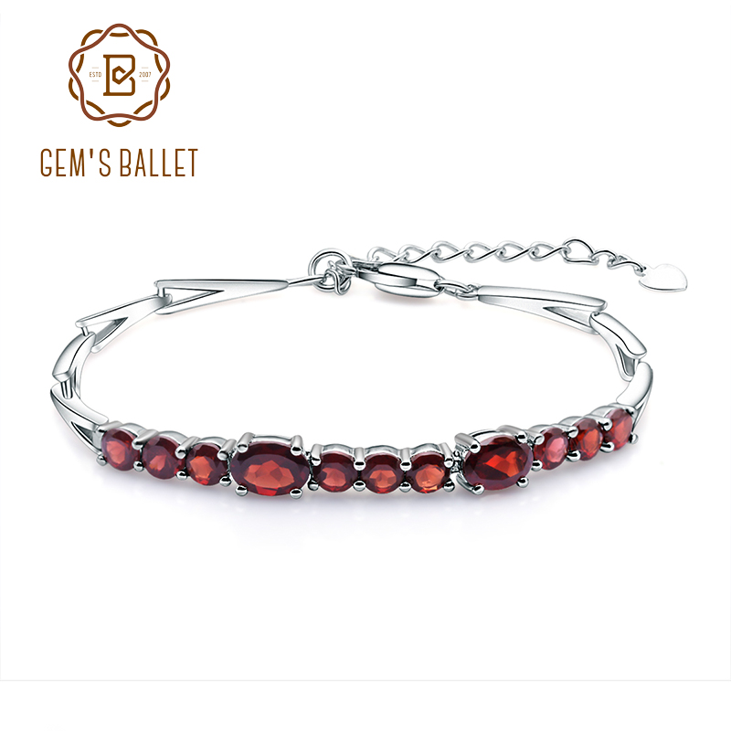 GEM S BALLET 5 32Ct Natural Red Garnet Tennis Link Bracelet Genuine 925 Sterling Silver Women