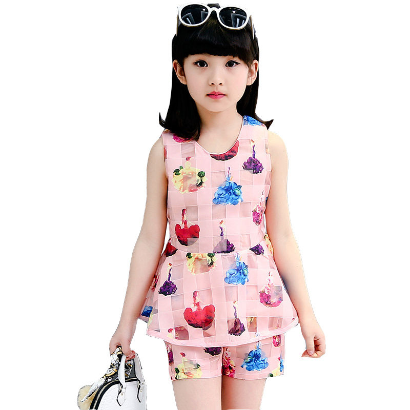 2017 fashion summer suit girls kids clothing set girls t-shirt short clothes set girl 4 7 10 12 years kids casual children set