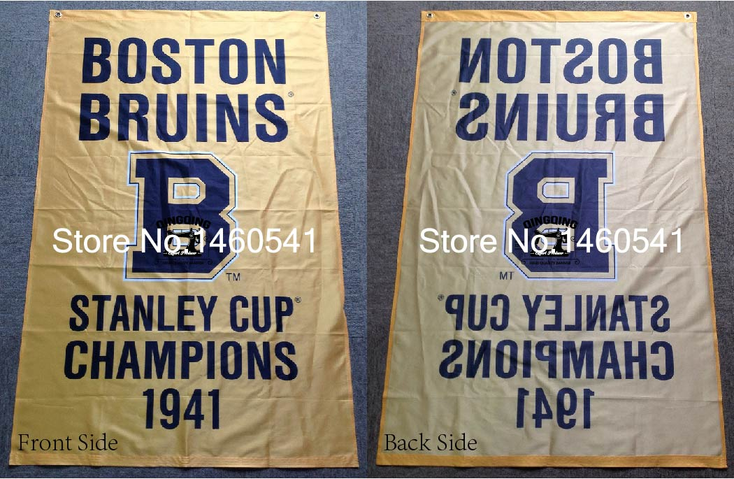 <font><b>Boston</b></font> <font><b>Bruins</b></font> <font><b>Stanley</b></font> <font><b>Cup</b></font> <font><b>Champions</b></font> <font><b>1941</b></font> Flag 3ft x 5ft Polyester NHL Team Banner Flying <font><b>Size</b></font> No.4 144* 96cm QingQing Flag