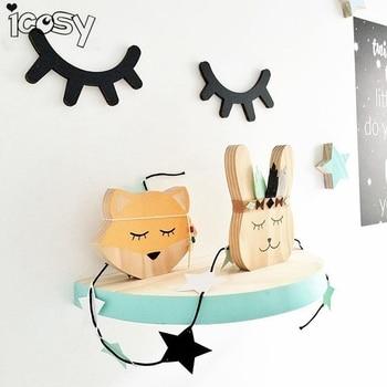 Icosy Cute Wood 3D Eyelash Wall Decor Eye lash Wall Stick Children Kids Baby Room Background Wall Sticker Home Decoration dřevěné dekorace do dětského pokoje