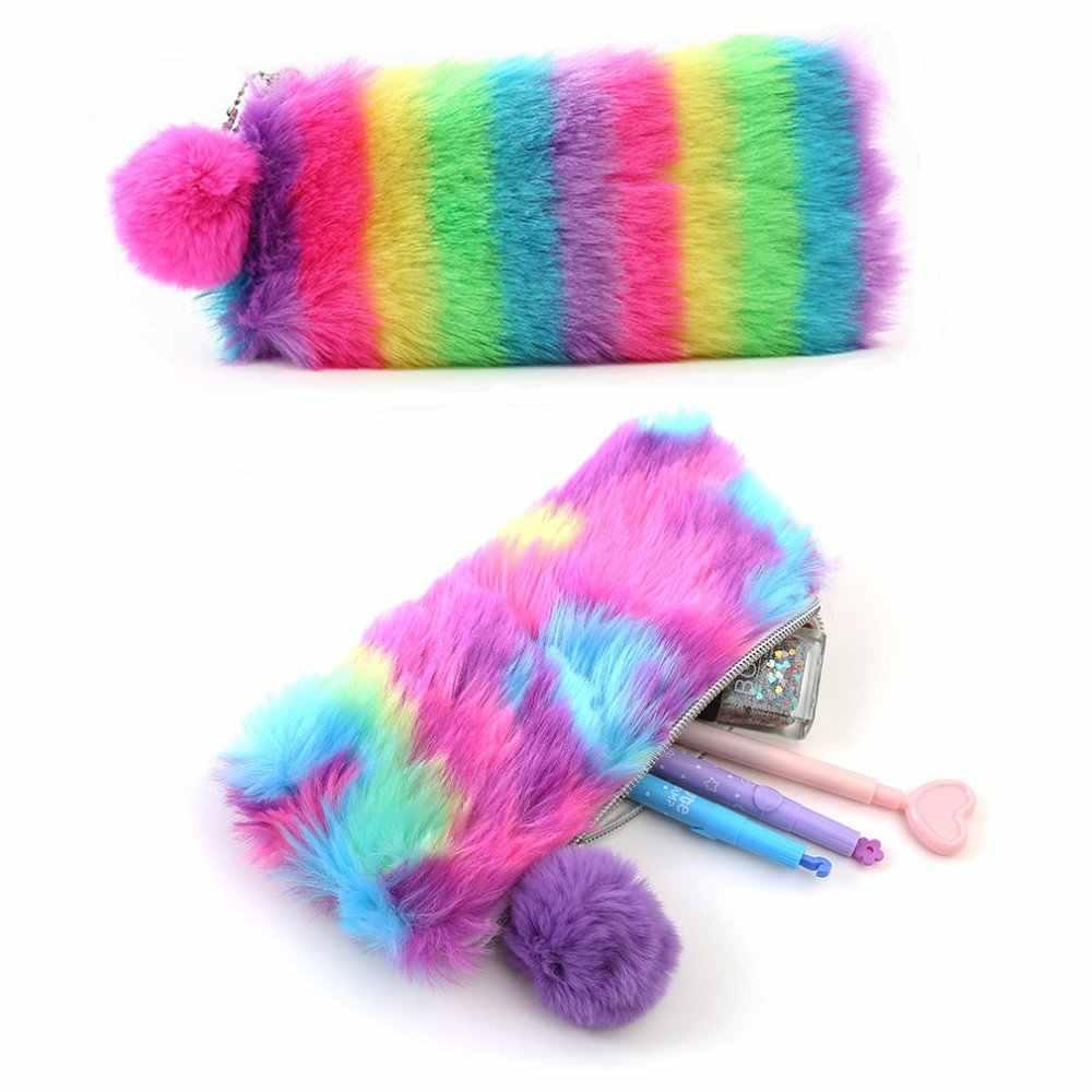 Adorável Presente da menina de Pelúcia Bolsa, Rainbow Lápis Bolsa de Pelúcia, Kawaii plush chaveiro saco da moeda da carteira
