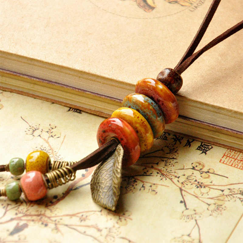 Leather Necklace Ceramic Beads Pendants Women Men Leaf  Statement Charm Choker PU Cord Long Chain Fashion Jewelry Accessories