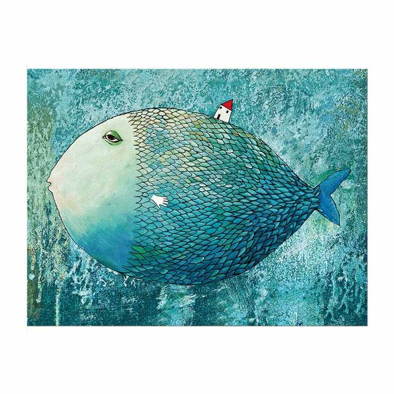 Big Fish Nordic Poster Canvas Painting Watercolor Wall Art Posters And Prints Abstract Wall Pictures For Living Room Decor