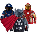 Fashion boys kids sweater autumn winter cartoon zipper iron man hoodie kids