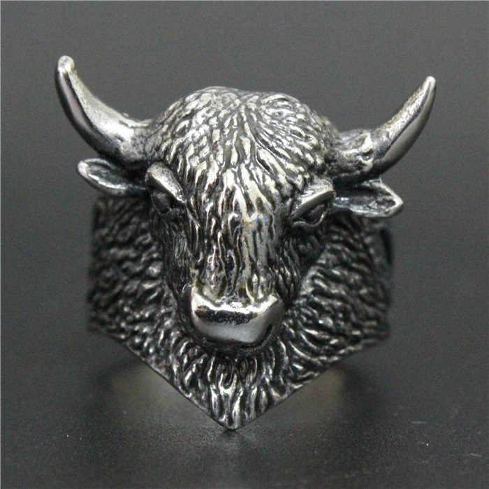 2017ใหม่หัวหน้ากระทิงแหวนสแตนเลส316Lบุรุษสตรีแฟชั่นเย็นจามรีแหวน