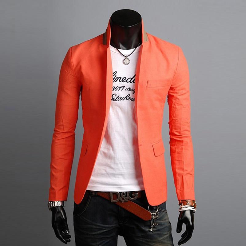 Linen Suits Men Veston Homme Veste Complet Male Fashion European Slim Fit Casual Single Button Blazer Jacket Traje Hombre