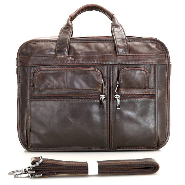Vintage Real Genuine Leather Briefcase Business Portfolio Cowhide Men  messenger bags Shoulder Bag 15.6