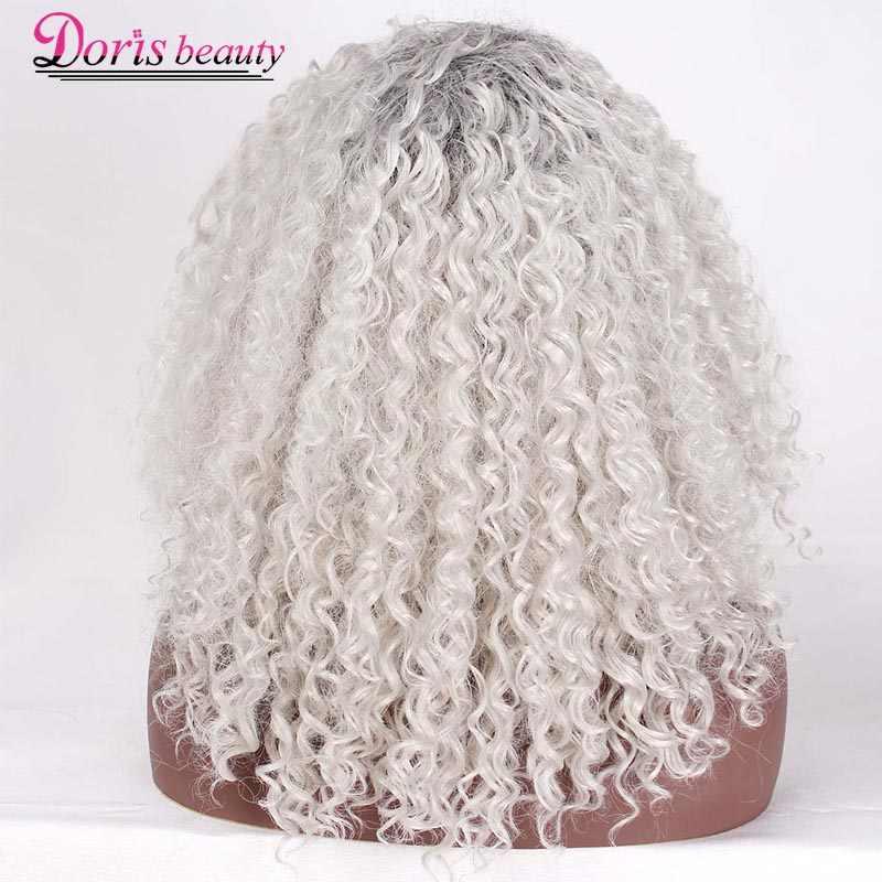 Doris beauty длинные Омбре пепельные белые парики для женщин синтетический кудрявый парик афро косплей волос натуральный серебряный черный коричневый красный