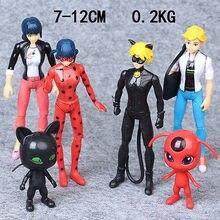 6Pcs Pack Miraculous Ladybug PVC Figure Adrien Noir Cat Plagg Tikki with Light Kids Toys