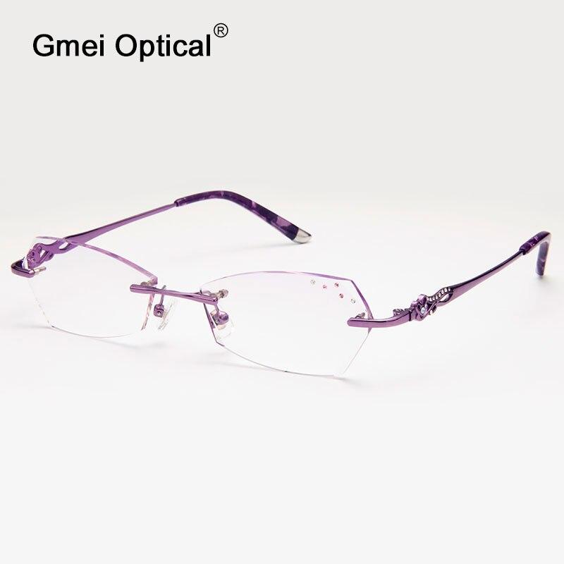 Gmei óptico q311 rimless diamante Cúter Objetivos anteojos Marcos para las  mujeres gafas 8450700a47