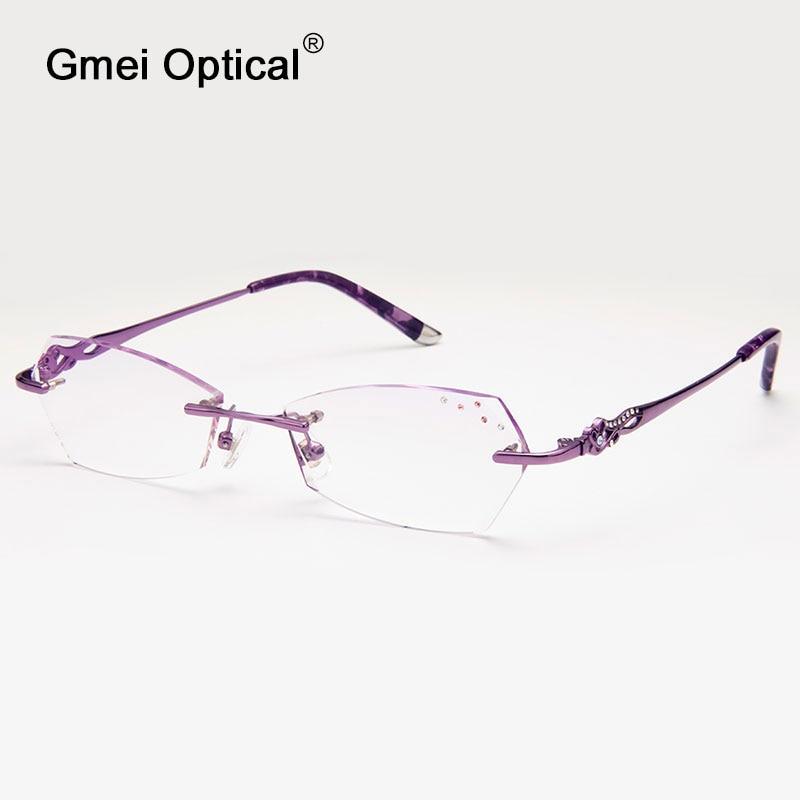 6a7dad447 Gmei Q311 البصرية بدون شفة الماس قطع عدسات النظارات الإطار للنساء نظارات