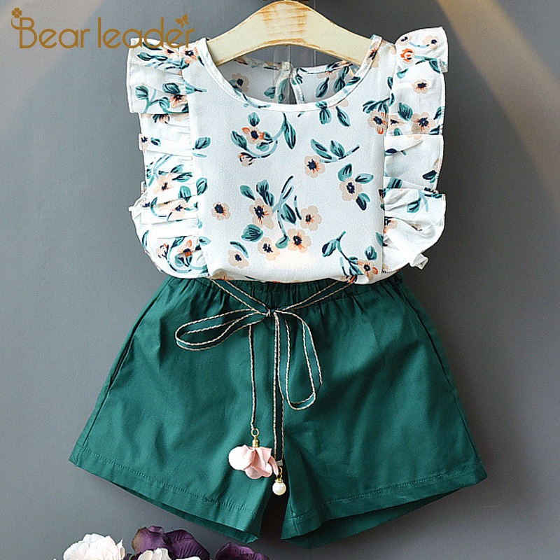 Bear Leader Girls Sets Summer Floral Children Sleeveless T-shirt+Solid Shorts 2PCS Kids Suit Fashion 3-7T Children Clothes 1