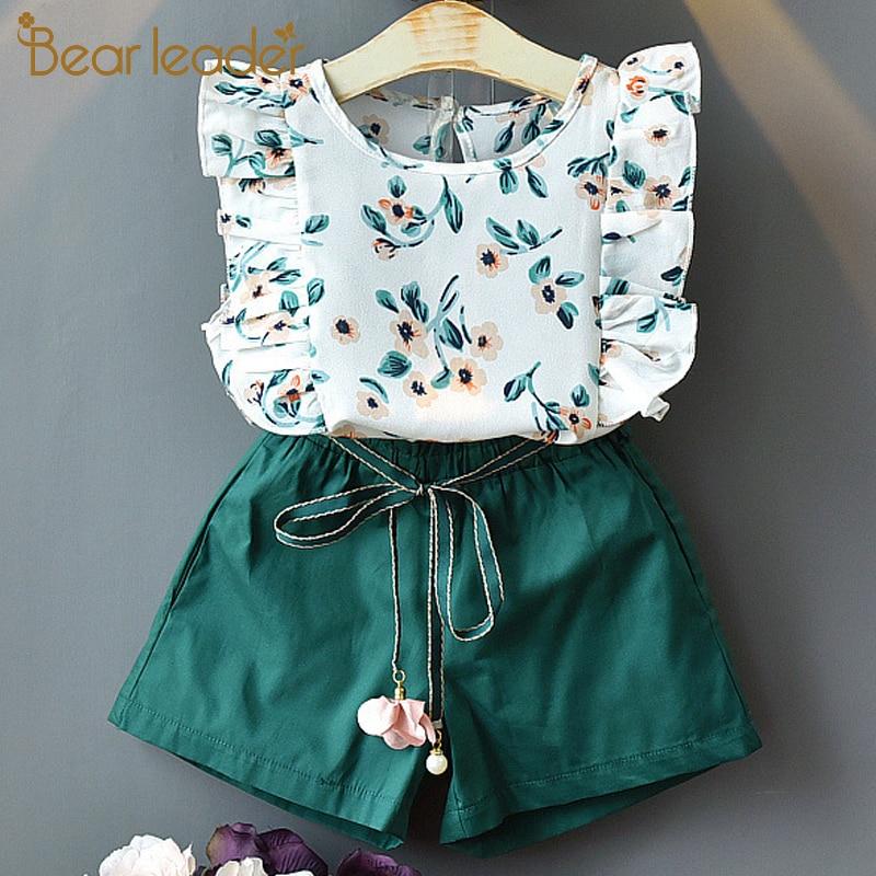 Bear Leader Girls Sets Summer Floral Children Sleeveless T-shirt+Solid Shorts 2PCS Kids Suit Fashion 3-7T Children Clothes