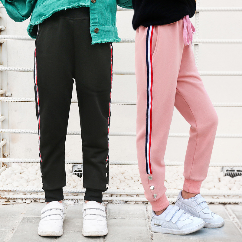 Teens Girls Sports Pants Fashion  Side Stripe Children Trousers 4-14 Years Black gray pink Kids Girl Cotton Pencil Pants girl
