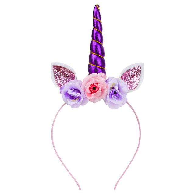 b9eaf6a8572 1PC Purple Unicorn Horn Cute Magical Head Ear Headband Fancy Dress Woman  Girl Gold Cosplay Party