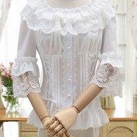 Free shipping 2019 new brocade garden lolita horn sleeve with lace render joker shirt