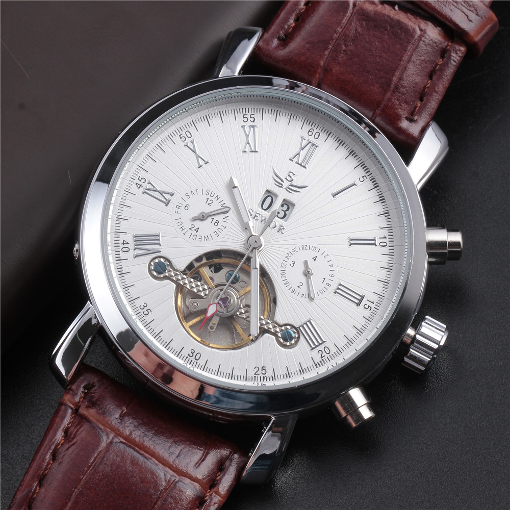 SEWOR Top Luxury Tourbillon Watch Men Automatic Calendar Sub-dials Skeleton Mechanical Watches Vintage Leather Strap Gift Clock ks black skeleton gun tone roman hollow mechanical pocket watch men vintage hand wind clock fobs watches long chain gift ksp069