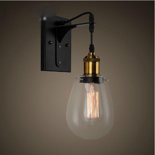 Loft Vintage Industrial American Country Teardrop Glass Edison Wall Sconce Lamp Bathroom Beside Mirror Modern Lighting Fixture vintage loft industrial edison flower glass ceiling lamp droplight pendant hotel hallway store club cafe beside coffee shop