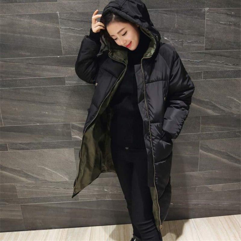 Cw087 Mode Jacket Manteau Green black Femmes D'hiver Lâche Lining Sortie Lining Chaleur 2019 Vêtements Nouveau Long Parkas Solide De Grande Capuchon En À Coton Taille t6Rqwga1q