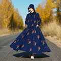 MM087 Autumn and Winter 2016 new arrival vintage floral embroidered long sleeve maxi women wool coat