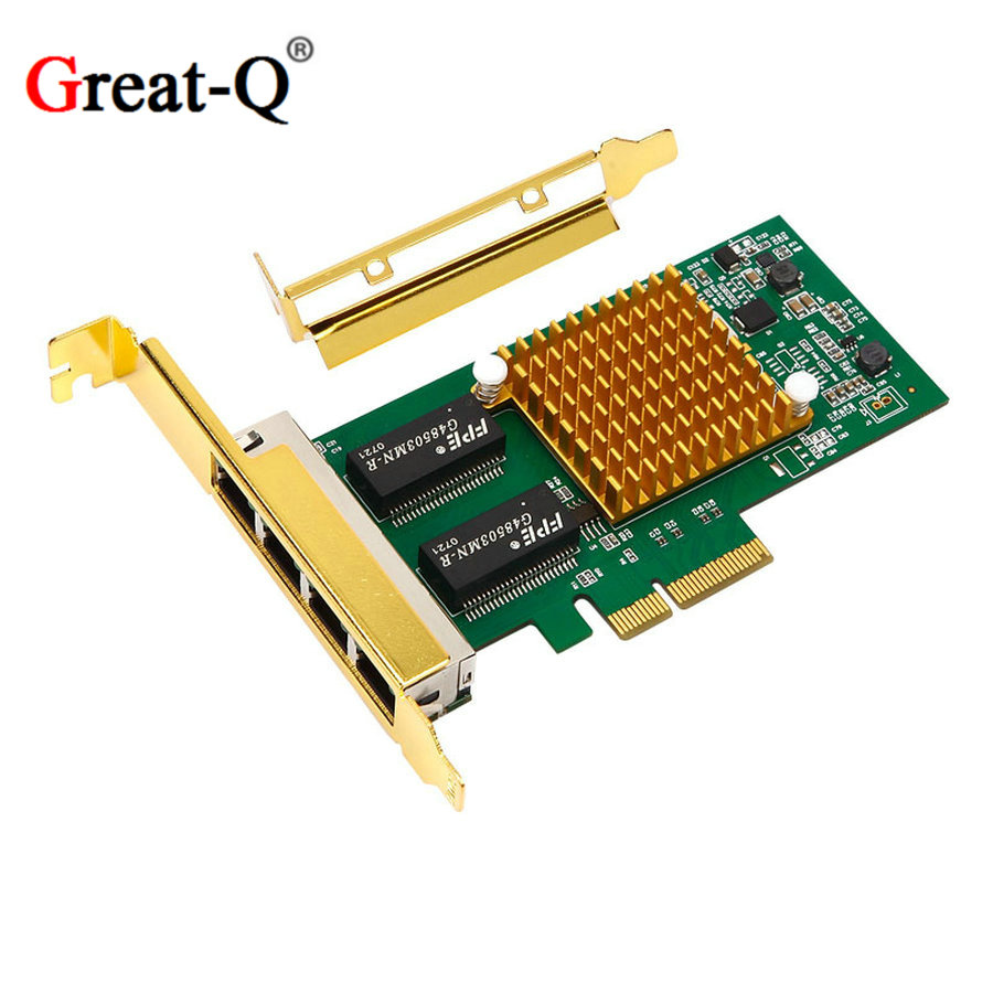 I350T4 1000 Mbps PCI Express pcie 4 x RJ45 RJ-45 Gigabit Ethernet LAN Quad Port Server Adapter carte réseau d'origine chipest