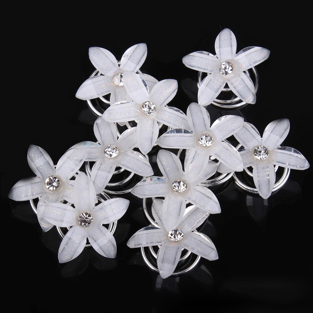 Jewelry Sets & More Hair Jewelry 12x Clear Crystal Rhinestone Wedding Bridal Hair Spin Pins Twists Coils Five Petals Flower Swirl Spiral Hairpins Fashion Jewelry
