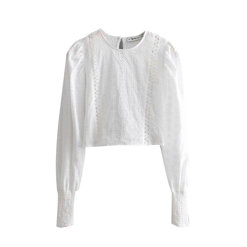 Doux Chemises Blusas Vintage Pour Dames Cou Picture Femme Broderie Évider As Courts Chemisiers Mode O Hauts Streetwear Femmes Décontracté 2019 6dxdrRTq