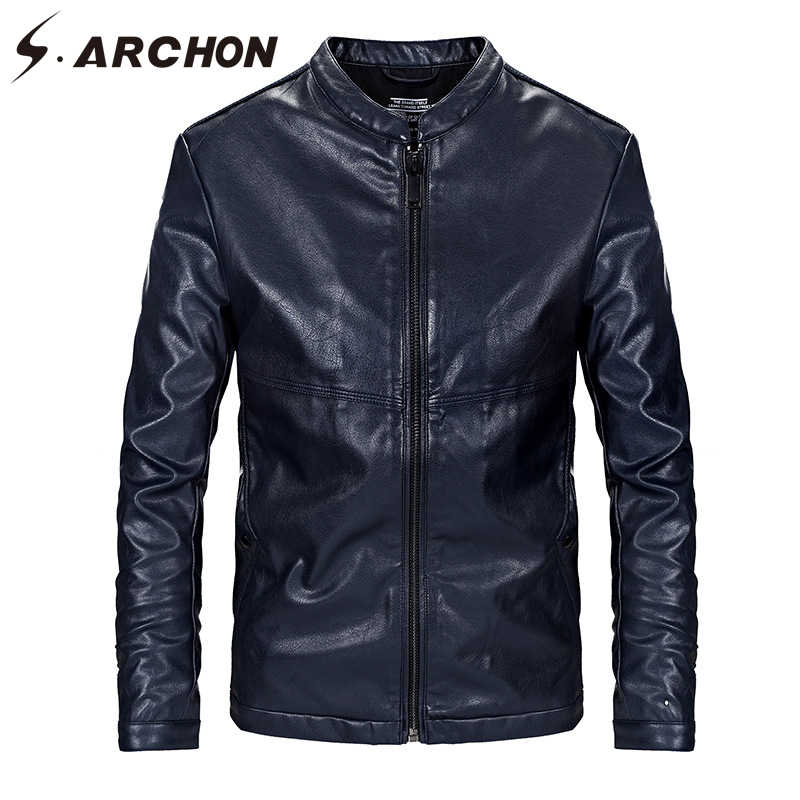 S. ARCHON из искусственной кожи мотоциклетные куртки для мужчин повседневное Стенд воротник ветрозащитный пилот куртка мужской тонкий Slim Fit модная верхняя