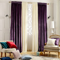 Home Window Decoration Wedding Purple Velvet Curtains Blackout Bedroom / Living Room / Dining Finished Custom