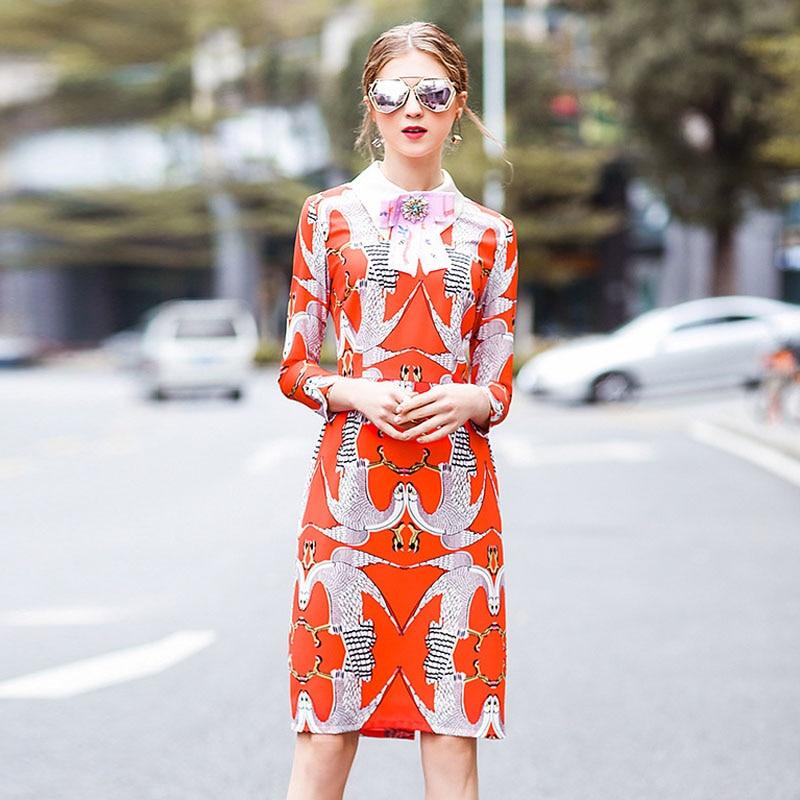 Summer Dress Women 2018 Hot Sale European New Trendy High Fashion Designer Runway Elegant Beading Bowknot Print Casual Vestido