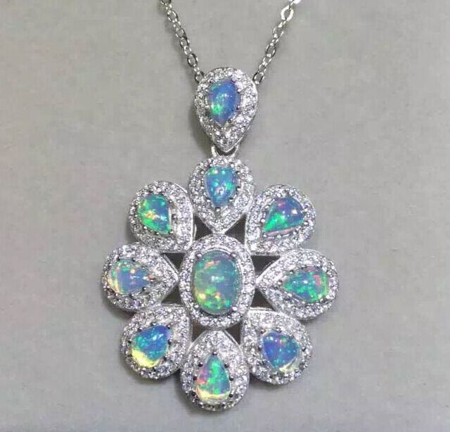 Natural opal gem pendant S925 silver Natural green peridot Pendant Necklace trendy large Flower group women wedding fine jewelry jzn0007 top quality blue opal gem silver necklace new trendy necklace for women fine jewelry gorgeous unisex chain necklace
