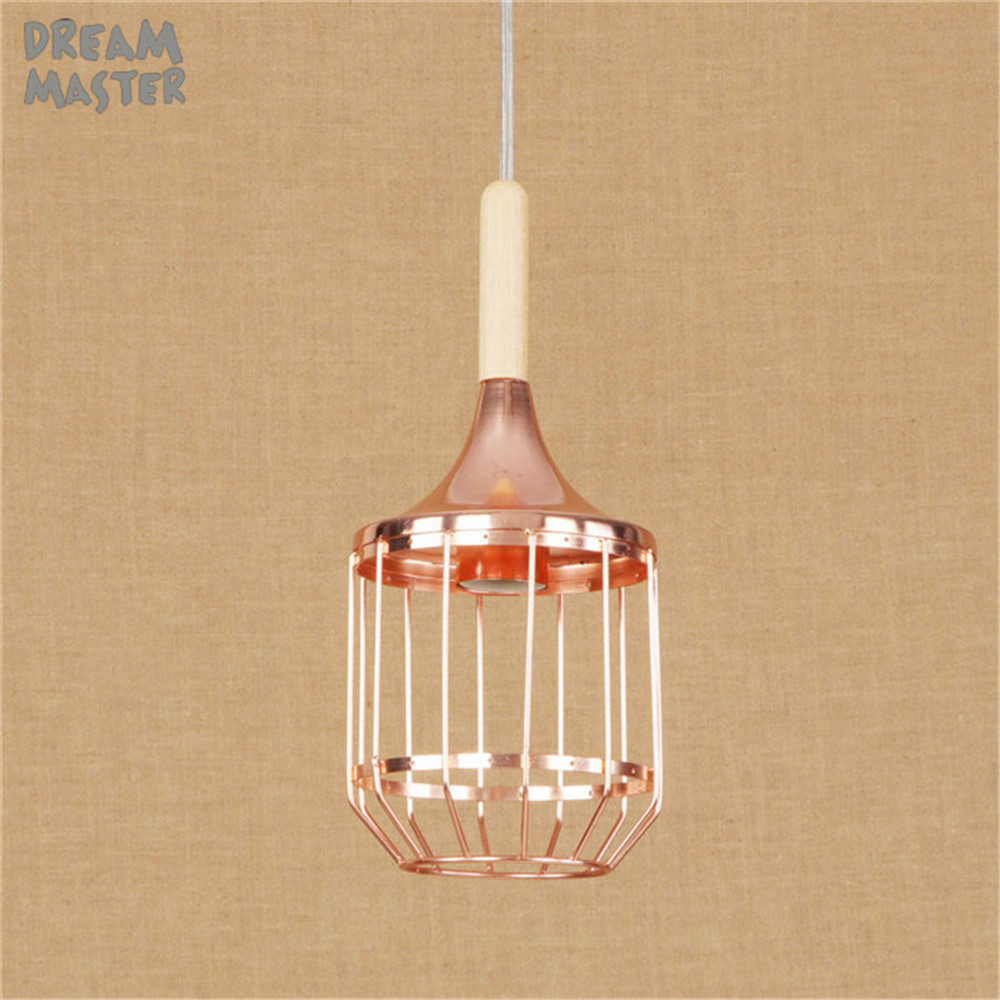 Retro Vintage Rose Gold Pendant Light Lamp Loft Creative Personality Industrial Lamp Edison Bulb American Style For Living Room