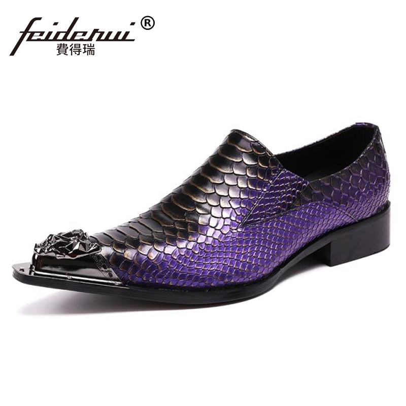 Plus Size Purple Luxury Pointed Toe Slip on Man Alligator Party Loafers Genuine Leather Handmade Men's Runway Wedding Shoes SL75 plus size pointed toe slip on man glitter punk loafers luxury genuine leather studded wedding party men s runway shoes sl31