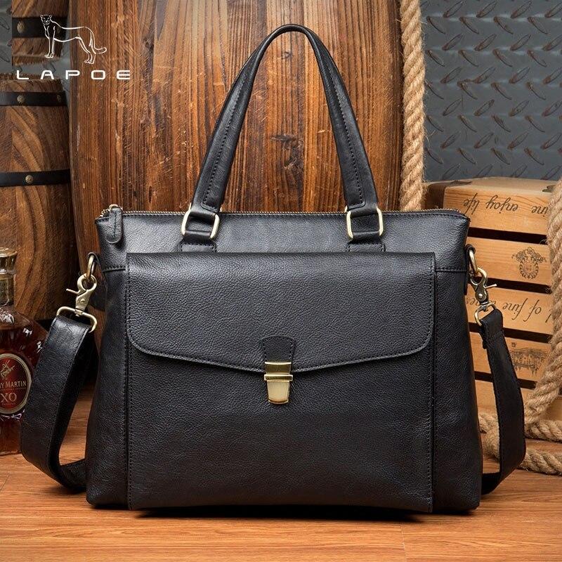 Taschen Business Männer Office tasche Mode dokumente Reise Echte 15 Schulter Laptop tasche Für Aktentasche Zoll Leder Izw1qqO