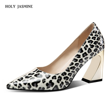 2019 New Women's Pumps Genuine Leather Sexy Leopard High Heel Shoes Women Pointed Toe Square Heels Party Footwear Size 34-41 women square high heel shoes lady party quality footwear pointed toe brand fashion heeled pumps heels shoes size 34 39 p17328