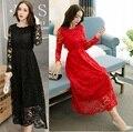 2016 Mulheres Elegantes cultivar vestido de renda longo império vestido de festa Outono plus size collar com folhos casual longo vestido XXXXXL3930