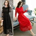2016Women Elegant cultivating long lace dress empire party dress Autumn plus size ruffled collar casual longo vestido XXXXXL3930
