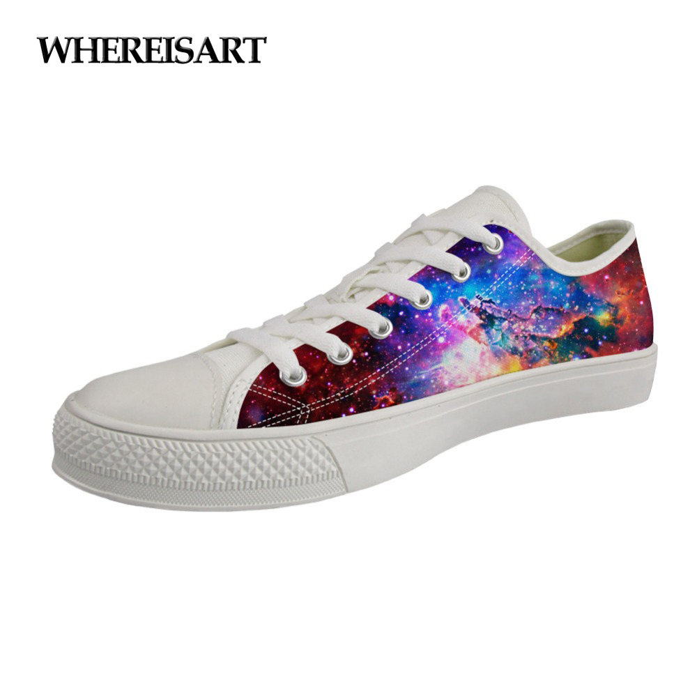 WHEREISART 2019 Fashion Hot-Selling Spring Summer Canvas Shoes Galaxy Pattern Women Vulcanized Shoes Woman's Low Top Sneakers