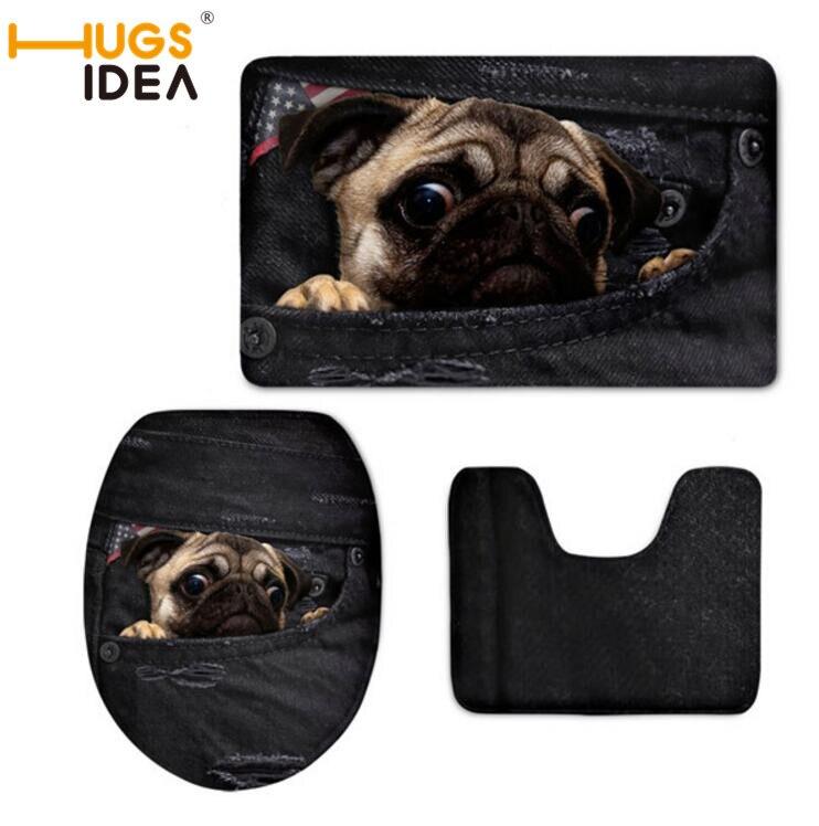 Hugsidea Denim Pug Dog Cat Printing Toilet Seat Covers