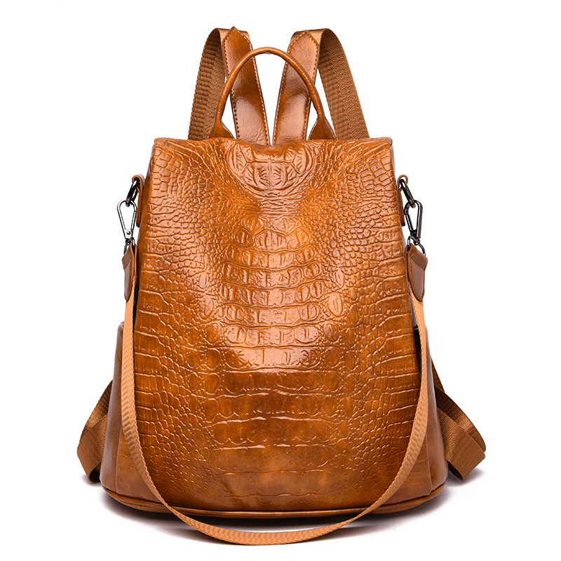 Female Backpack Casual For Women Pu Leather Backp Pack  Shoulder Cross Bags Travel School
