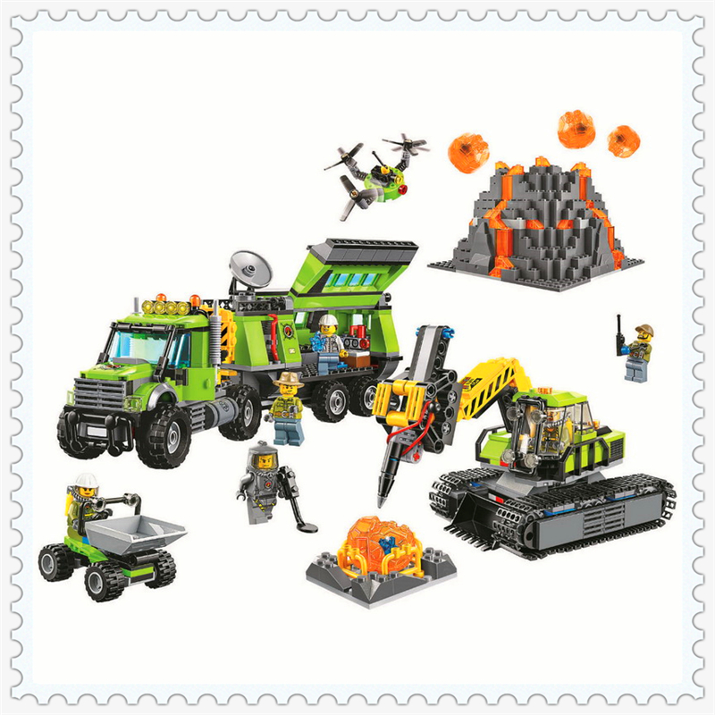 860Pcs City Volcano Exploration Base Model Building Block Toys BELA 10641 Educational Gift For Children Compatible Legoe 60124 lepin 24021 city creator 3 in 1 island adventures building block 379pcs diy educational toys for children compatible legoe