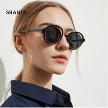 SHAMUS Rodada Óculos De Sol Das Mulheres Top Tons Da Moda 2018 Oco Lense Óculos  Óculos Homens Moda Óculos de Sol Masculino Ataca. 9f53aa794a