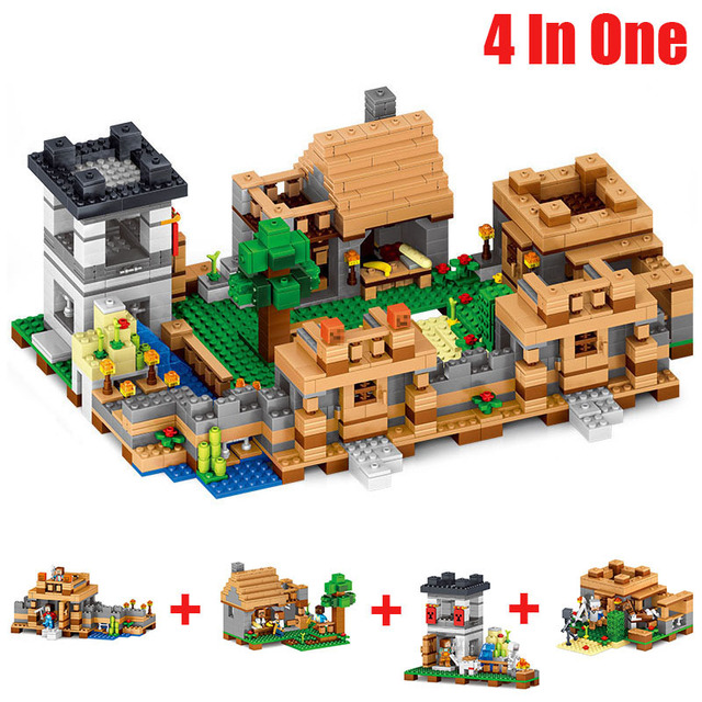US $43 5 40% OFF|4 Style Minecrafted Figures Minecraft Blocks 4 In 1 My  World Neverland Ranch Model Building Blocks Plastic Toys For Kids Gift#E-in