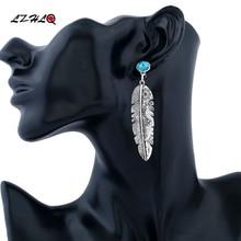 LZHLQ Vintage Leaf Drop Earrings Fashion Alloy Plated Women Blue Stone Earrings Ethnic Simple Carving Rhinestone Dangle Jewelry