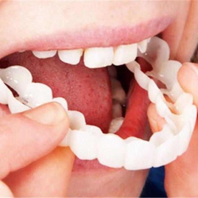 2018 nuevo práctico diseño hombres mujeres dientes sonrisa perfecta comodidad Fit Flex dientes Fits blanqueamiento sonrisa dientes falsos cubierta