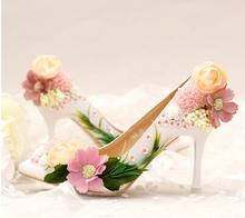 Pumps Women Shoes Flowers Sequins Bride Toe with Ultra high Heeled Shoes Shallow Dress Shoes Shallow