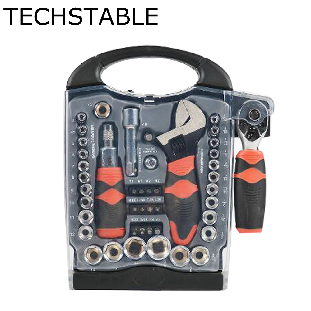 TECHSTABLE 46pcs sleeve ratchet wrench screwdriver set auto repair tool hardware tools 101 pieces of multifunctional screwdriver set ratchet sleeve combined computer maintenance tool