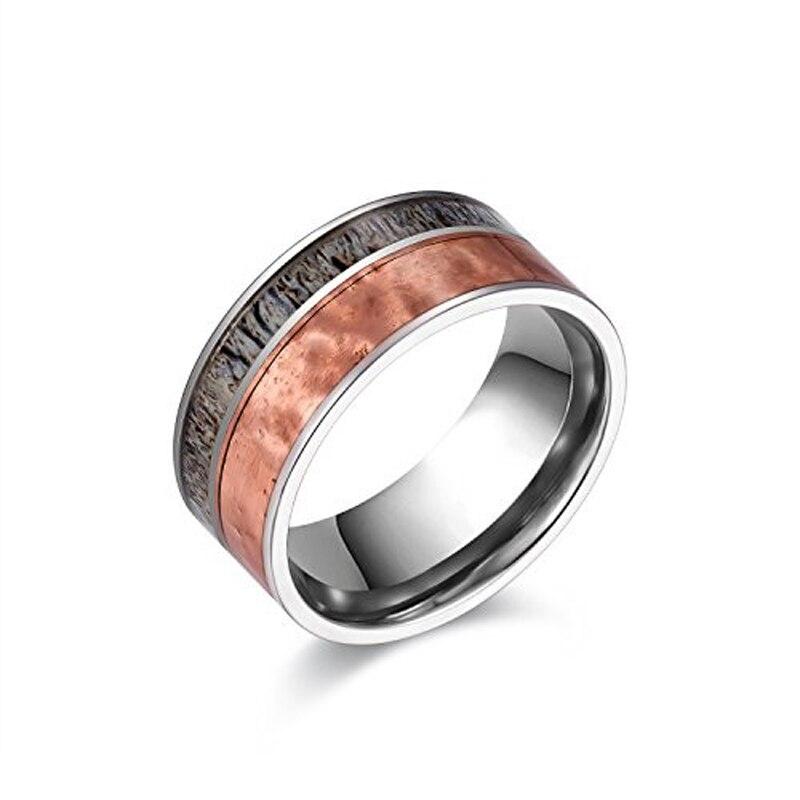Nouveau Design 10mm largeur titane anneaux pour incrustation de mariage homme bois naturel et rouge martelé Cooper taille 6-13 mode à la mode